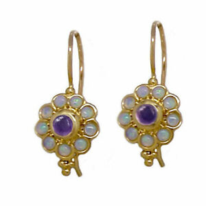 E106 Genuine 9ct Solid Yellow Gold NATURAL Amethyst & Opal Blossom Drop Earrings