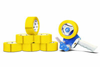 """6 Rolls 2"""" Yellow Color Packaging Packing Tape 2 Mil x 55 Yards with Dispenser"""