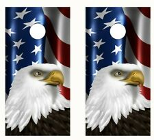 Cornhole Wraps Waving American Flag American Eagle Set of 2 Vinyl Wraps #L