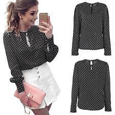 Womens Chiffon Long Sleeve T-Shirt Office Work Wear Polka Dot Loose Tops Blouse