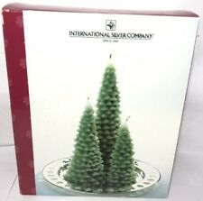 INTERNATIONAL SILVER CO 3 Scented Evergreen Candles & Silver Christmas Plate Box