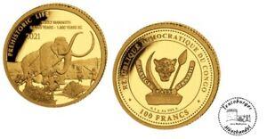 Kongo 100 Francs 2020 Prehistoric Life 4. Wollmammut  0,5 gr Gold Proof