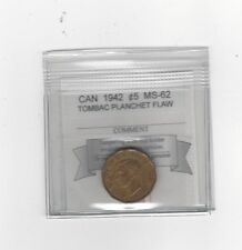 **1942 Tombac**, Coin Mart Graded Canadian, Five Cent, **MS-62, Planchet Flaw**