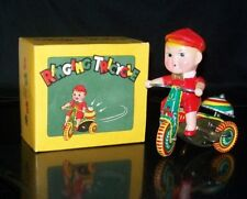 VINTAGE RINGING TRICYCLE TIN LITHO TOY WITH ORIGINAL BOX RINGING BELL WORKS!!