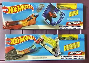 2 Pack Hot Wheels Action Electric Tower Playset City- Track Builder Green Yello