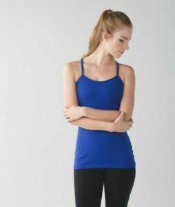Lululemon Women's Blue Power Y Sleeveless Luon Yoga Racerback Tank W/Bra Sz 6