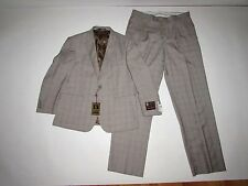 Giorgio Fiorelli Men's 2 Button Suit NWT Size 44 Short W38 Taupe Plaid 44S $299