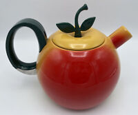 Vintage Red & Yellow Apple Enamel Tea Pot Stovetop Kettle Enamelware MCM Retro