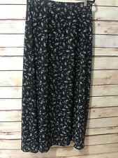 Liz Claiborne Classics Size 12 Black Floral Print Wrap Skirt Lined Long Modest