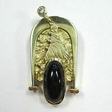 387 - Außergewöhnlicher Anhänger Gelbgold 585 Onyx Brillant --- 1784/57