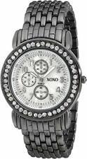 XOXO Women's XO5335 Gun-metal Bracelet With Rhinestones Accent Watch