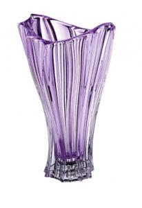 "Crystal Glass Vase 12"" Centerpiece Bud Vase Purple color Flower Vase Bohemian"