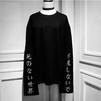 Original Design Ladies' Gothic Punk Japanese Characters Print Long Sleeve Shirt