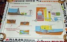 Affiche Scolaire Rossignol N° 21 et 22 l'Energie Electrique et Energie Solaire