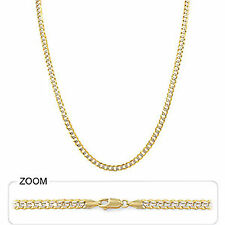 "4 mm 24"" 16.50 gm 14k Gold Solid Two Tone Men's Cuban White Pave Chain Necklace"