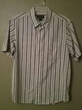 Eddie Bauer Mens Short Sleeve Button Up  Casual Outdoor Shirt Striped Rust Large