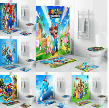 Super Mario Bathroom Mat Set 4PCS Shower Curtain Non-Slip Toilet Seat Mat Cover