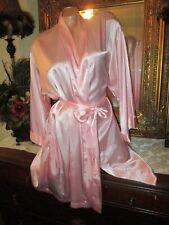 "Cruz Sissy Satin Kimono Robe Pink Stripes Dots Lingerie 44"" bust"