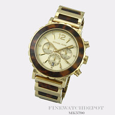 Authentic Stainless Steel Chronograph Tortoise Acetate Michael Kors Watch MK5790