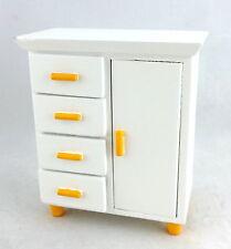 Dolls House Miniature Nursery Furniture White Lemon Baby Wardrobe Chest on Legs