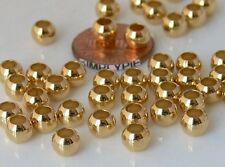 6mm Round Large Hole Brass Metal Beads 25