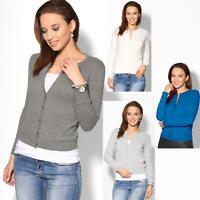 Women Ladies Cardigan Sweater Jumper  Button Top Soft Knit Crew Neck Work Office