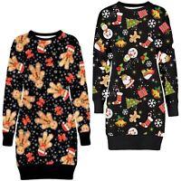 Ladies Xmas Ginger Bread Candy Stick Christmas Thermal Fleece Sweatshirt Jumpers
