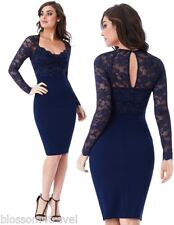 Goddess Navy Long Sleeve Scallop Lace Sweetheart Cocktail Party Evening Dress
