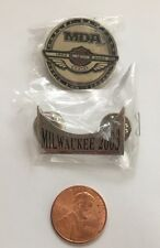 HARLEY DAVIDSON 100th ANNIVERSARY MDA PIN AND MILWAUKEE ROCKER PIN NEW!!!