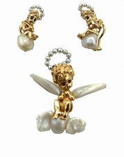 Ruser of Beverly Hills Angels Brooch & Earrings suit 14K Gold Sapphires Pearls