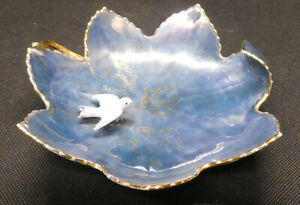 Teal Blue and Gold Hand Painted Leaf Shaped Dish with White Bird