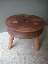 "Antique Stool Stand Vtg Primitive 3 Mortised Splayed Legs Oak Wood, 12-1/2"" Tall"
