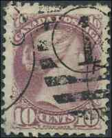 Canada #40 used F-VF 1877 Queen Victoria 10c dull rose lilac Small Queen Duplex