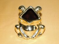 "VINTAGE 4"" HIGH METAL FROG BANK COIN MONEY HOLDER"
