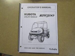 Kubota RTV500 RTV 500 Utility Vehicle owners & maintenance manual