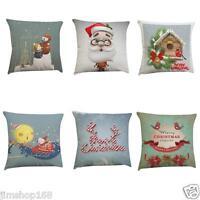 Xmas Pillow Cover Waist Throw Cushion Cases Cotton Linen Sofa Car Home Bed Decor