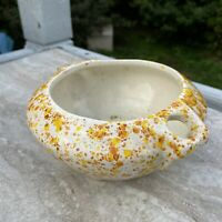 CERAMIC HAND MADE PLANTER SPECKLED ATOMIC MID CENTURY