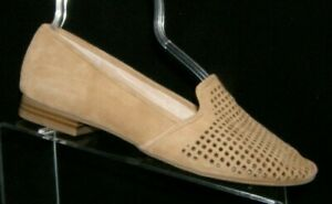Crown Vintage Penelope beige suede perforated cut out slip on loafer flats 8M