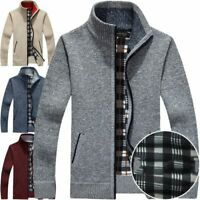 Thicken Zipper Knitwear Coat Men's Casual Sweater Jacket Winter Warm Outwear New