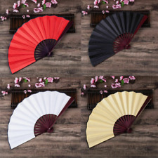 Dance Folding Hand Fan Red Black White Medium Chinese Kung Fu Tai Chi Held Fans