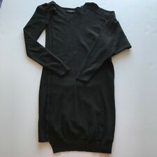 All Saints Women's Black Wool Cotton Blend Oversized Long Sleeve Sweater Dress 4