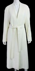 LE17SEPTEMBRE NWT Ivory White Wool Blend Collarless Long Belted Coat 36