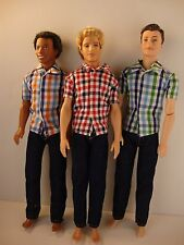 Set of 3 Ken Doll Outfits Jeans with Short Sleeve Plaid Shirts 6 Pcs of Clothing