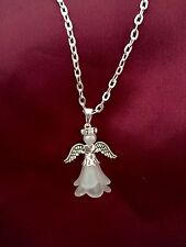 "Guardian Angel Pendant 16"" Necklace With Diamonte  Rhinestone Halo,"