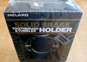 Bathroom  Toothbrush & Tumbler Cup Holder Solid Brass Chrome Finish By MELARD