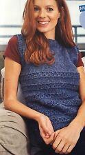 KNITTING PATTERN Ladies Textured Striped Tank Top Sleeveless Sweater Aran Wendy