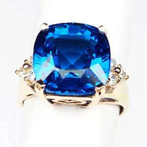 Topaz Swiss Blue Antique 9.40 Ct. 925 Sterling Silver Rose Gold Ring Size 6.5