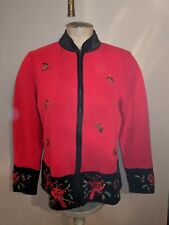 VINTAGE HEIRLOOM COLLECTIBLES CHRISTMAS SWEATER CARDIGAN SEQUIN CARDINAL LADIES