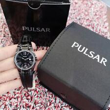 NEW Pulsar Swarovski crystal lady watch black leather PXT689