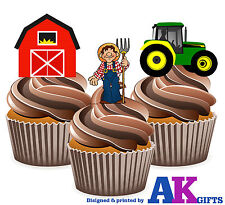 PRECUT Kids Cartoon Tractor / Farm Mix 12 Edible Cupcake Toppers Cake Decoration